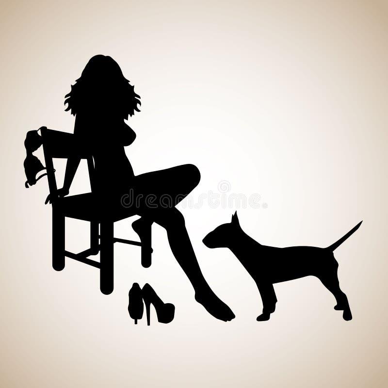 Meisje, mooi silhouet, vrouwelijk, sexy, schoonheid, zwarte, manier, ontwerp royalty-vrije illustratie