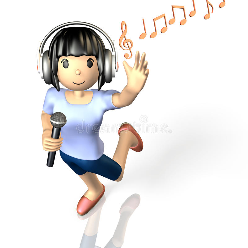 Meisje om bij karaoke te zingen vector illustratie