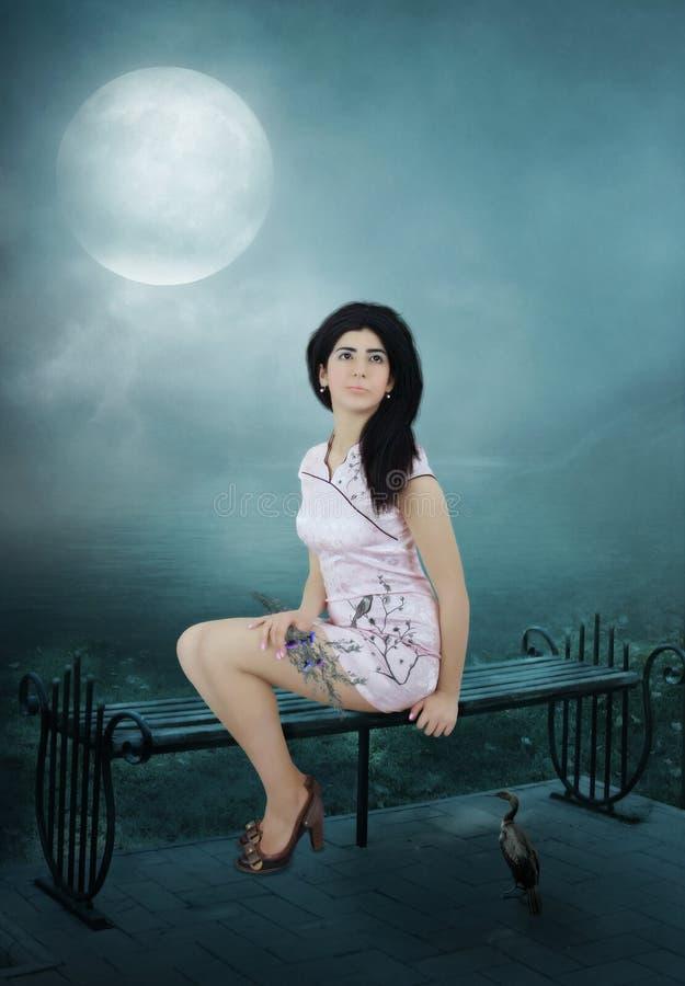 Meisje onder het maanlicht stock afbeelding