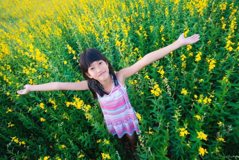 Meisje op bloemengebied royalty-vrije stock foto's