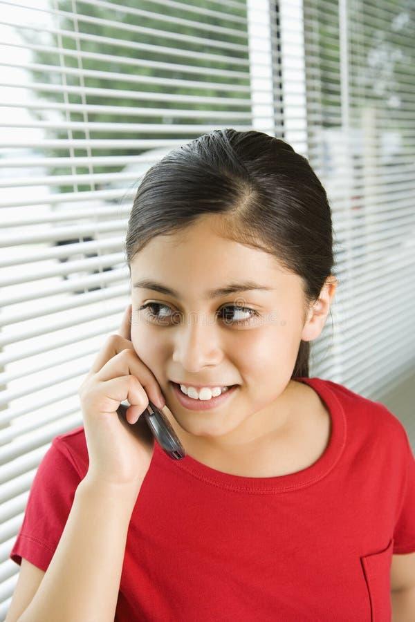 Meisje op celtelefoon. royalty-vrije stock foto's