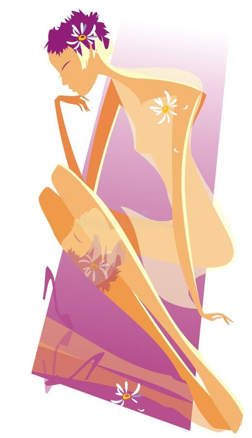 Download Meisje op de mat vector illustratie. Illustratie bestaande uit youth - 10778068