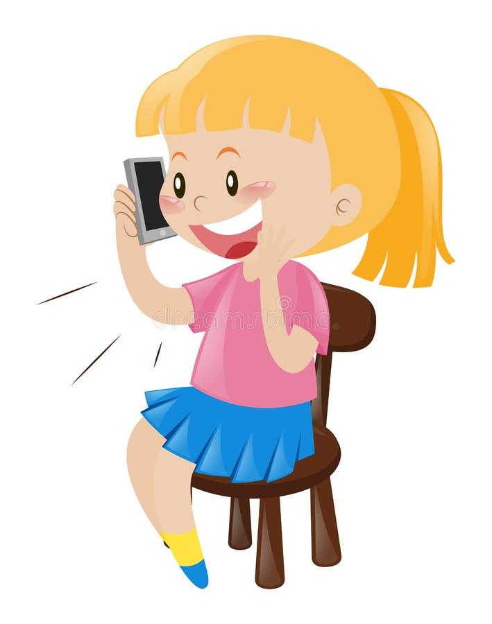 Meisje op de stoel die op de telefoon spreken royalty-vrije illustratie