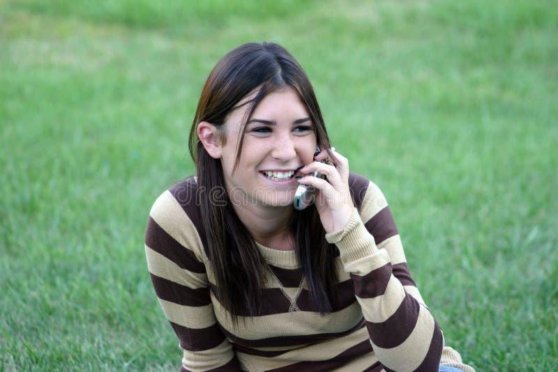 Meisje op de Telefoons van de Cel royalty-vrije stock foto's