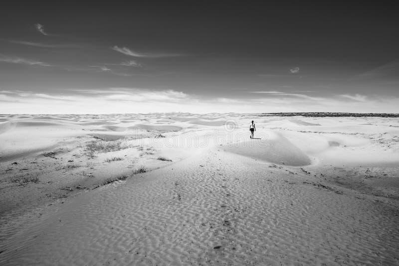 Meisje op de woestijn royalty-vrije stock afbeelding