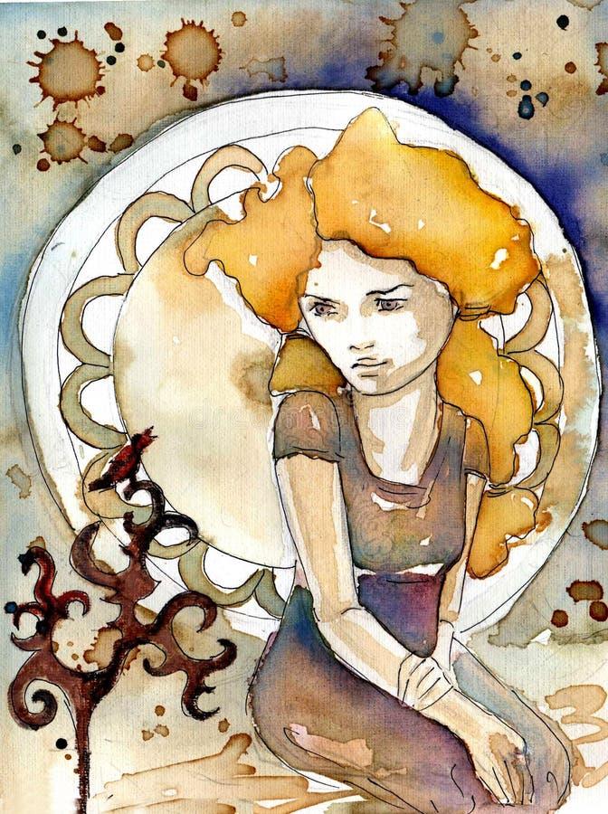 Meisje op een abstracte achtergrond royalty-vrije illustratie