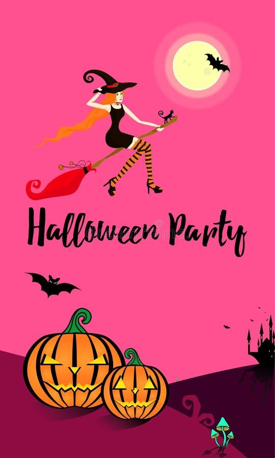 Meisje op een bezemsteel in zeven haasten aan de Halloween-partij stock illustratie