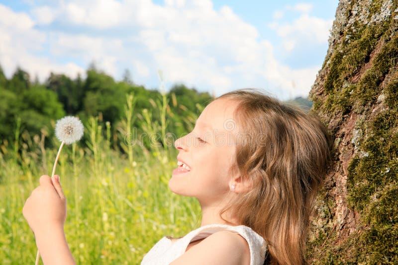Meisje op een boom stock afbeelding