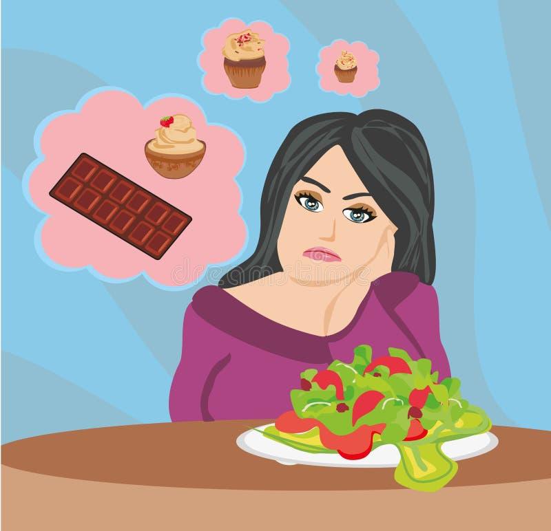 Meisje op een dieet stock illustratie