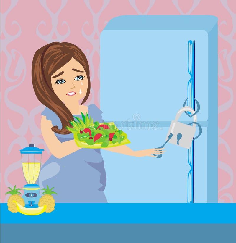 Meisje op een dieet - Ijskast met ketting en slot stock illustratie