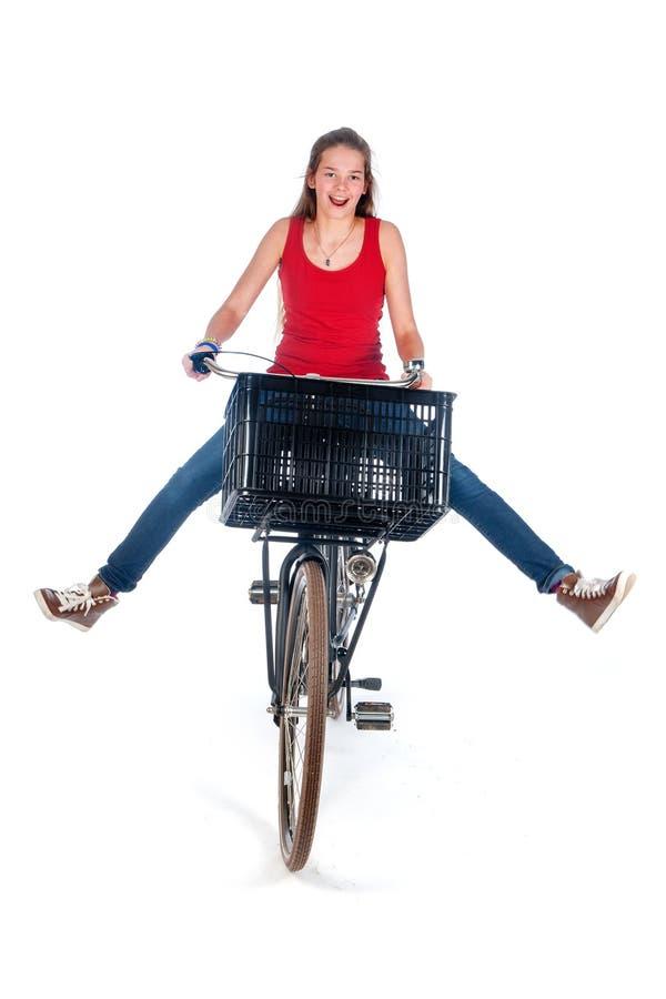 Meisje op een fiets stock foto's