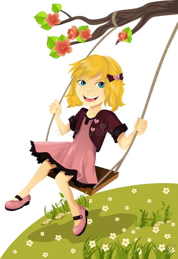 Meisje op een schommeling stock illustratie
