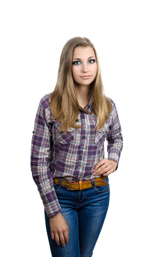 Meisje op een witte achtergrond in plaidoverhemd royalty-vrije stock fotografie