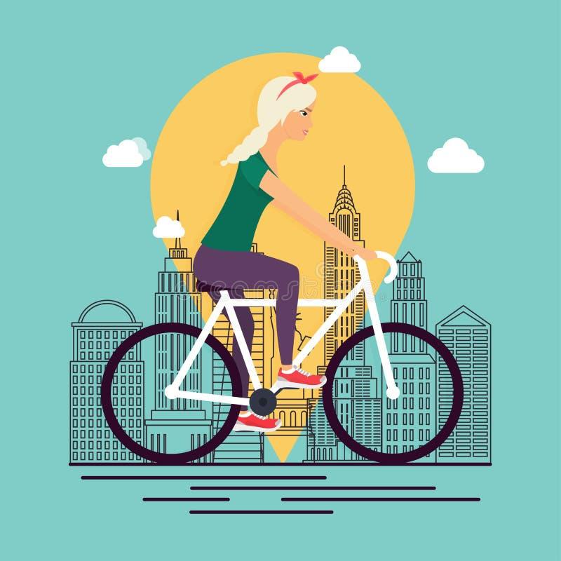 Meisje op fiets Achtergrondstadshorizon in lineaire stijl Concept o vector illustratie