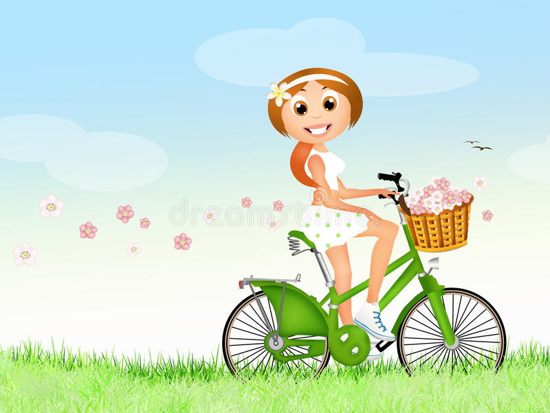 Meisje op fiets in de lente vector illustratie