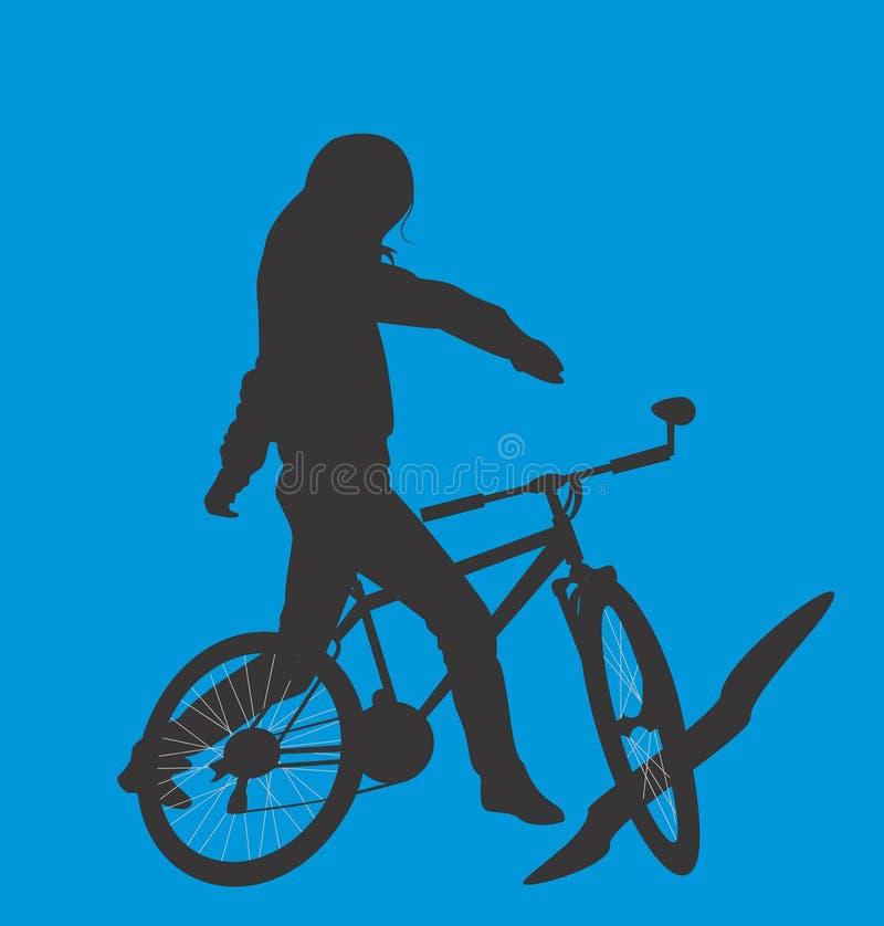 Meisje op fiets op achtergrond van hemel stock illustratie
