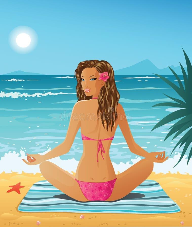 Meisje op het strand stock illustratie