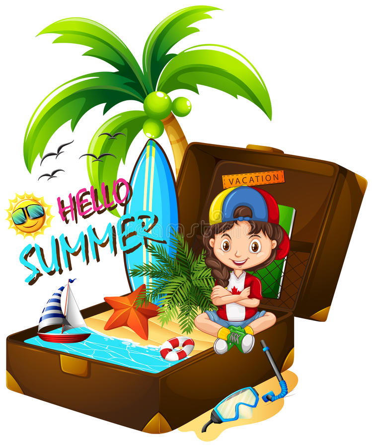 Meisje op het strand en de koffer stock illustratie