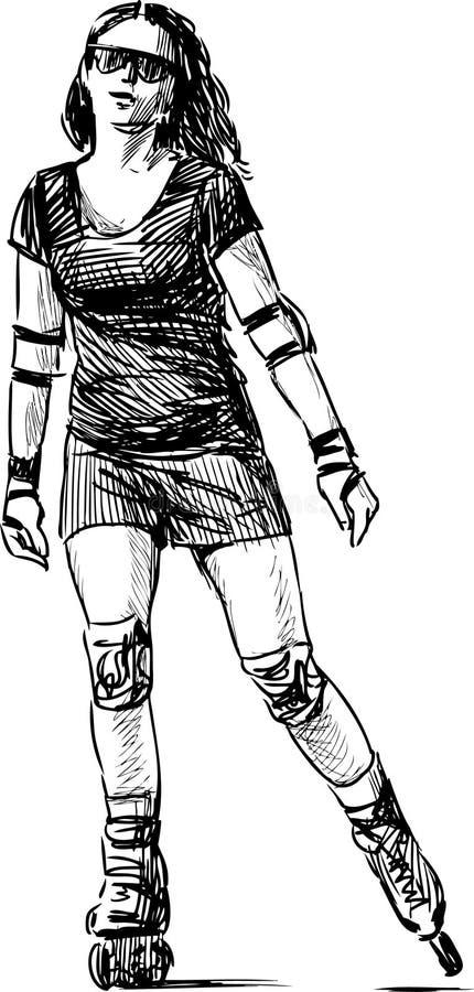 Meisje op rolschaatsen vector illustratie