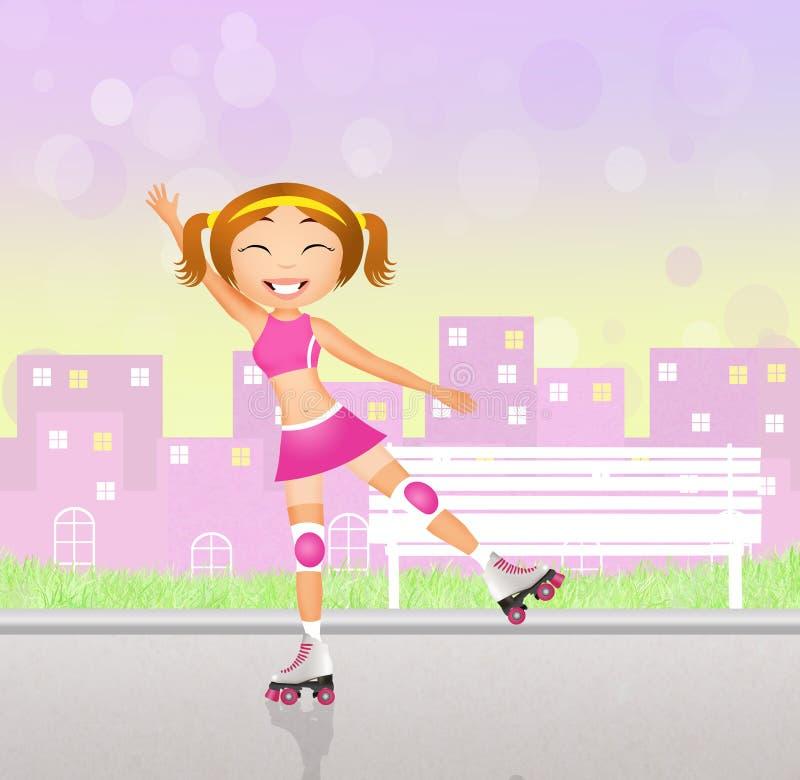 Download Meisje op rolschaatsen stock illustratie. Illustratie bestaande uit meisje - 54084803