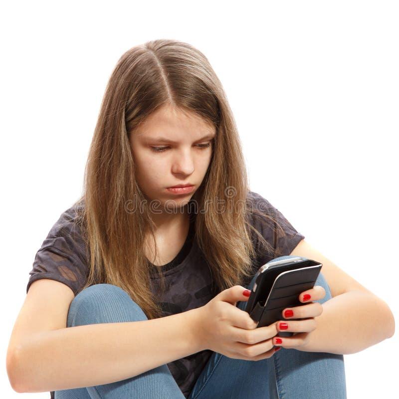 Meisje op telefoon royalty-vrije stock foto