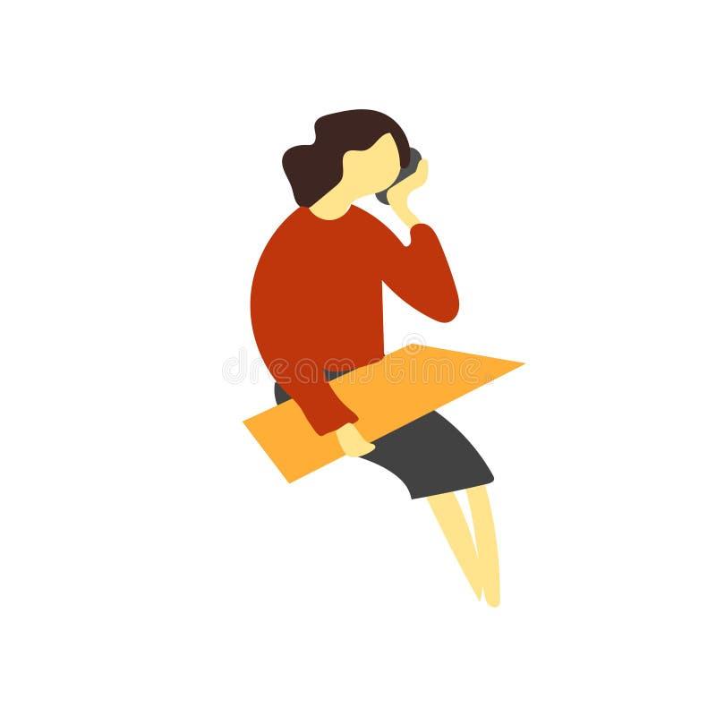 Meisje op telefoon vector vectordieteken spreken en symbool die op witte achtergrond, Meisje wordt geïsoleerd die op concept van  stock illustratie