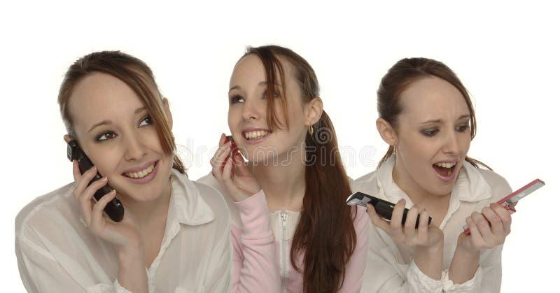 Meisje op Telefoonmontering royalty-vrije stock foto