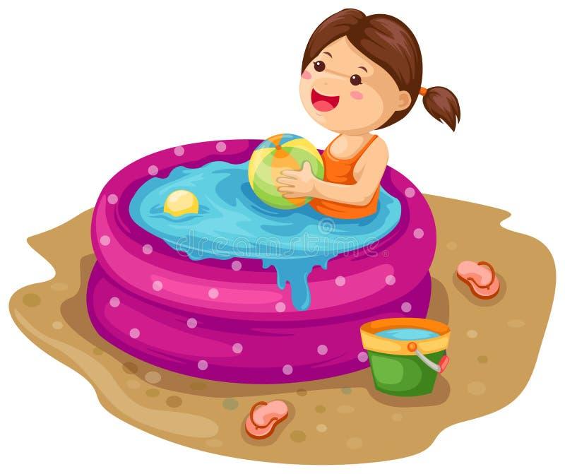 Meisje in opblaasbare pool stock illustratie