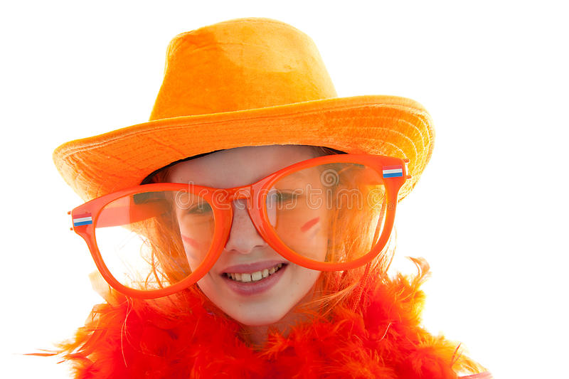 Meisje in oranje uitrusting royalty-vrije stock afbeelding