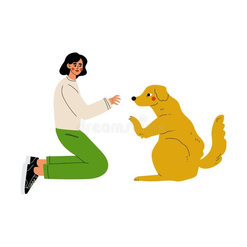 Meisje Palying die met Hond, Vrijwilliger Dieren Vectorillustratie behandelen vector illustratie