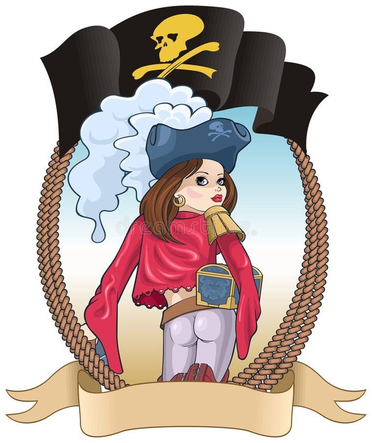 Meisje-piraat royalty-vrije illustratie