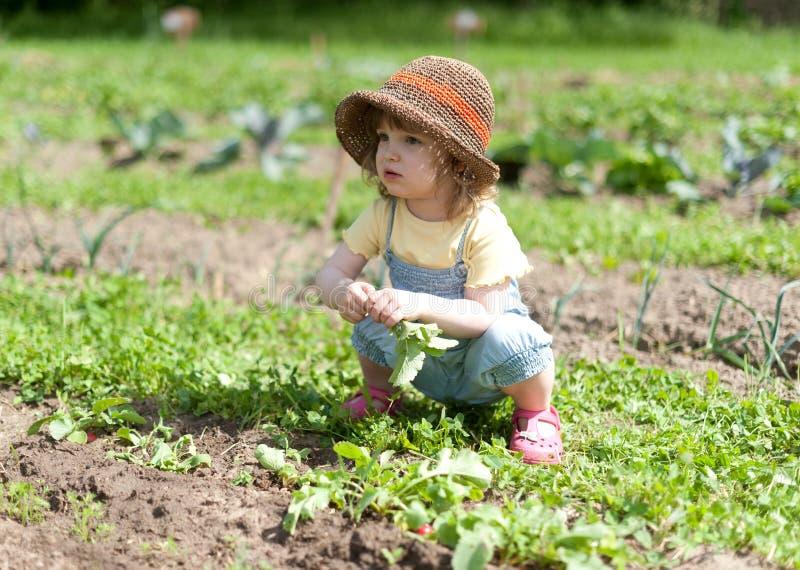 Meisje in plantaardig flard stock afbeelding