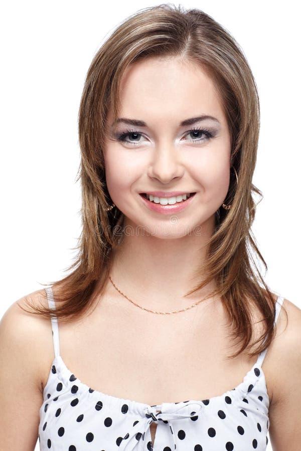 Meisje in polka-punt kleding stock afbeelding