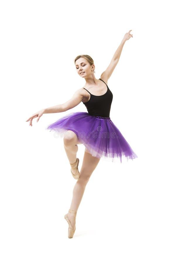 Meisje in purpere tutu en het zwarte ballet van de maillotdans royalty-vrije stock afbeelding