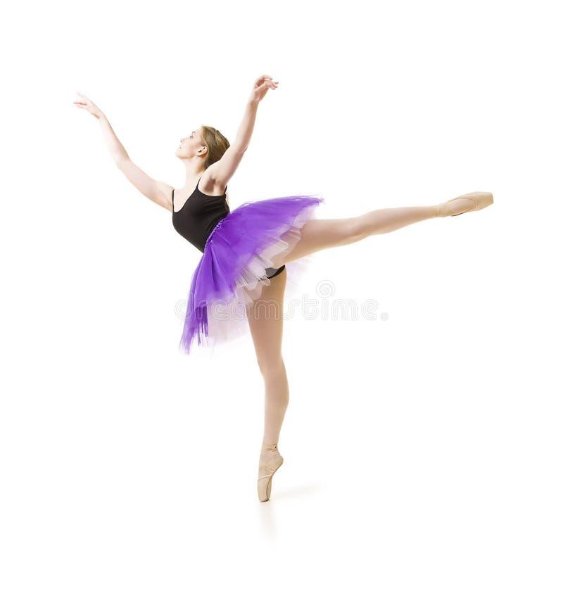 Meisje in purpere tutu en het zwarte ballet van de maillotdans stock fotografie