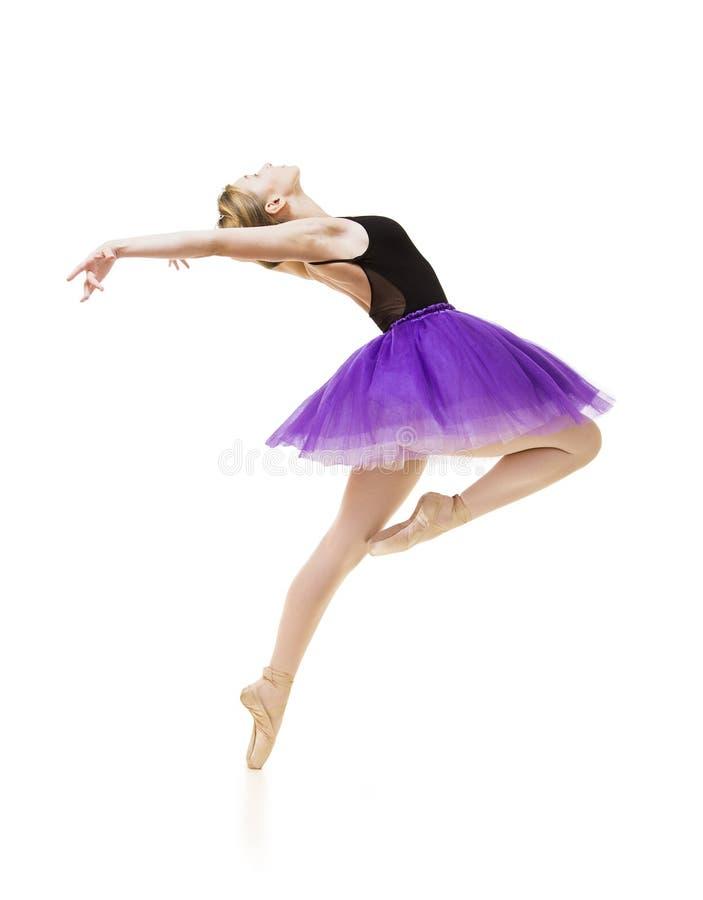 Meisje in purpere tutu en het zwarte ballet van de maillotdans stock afbeelding