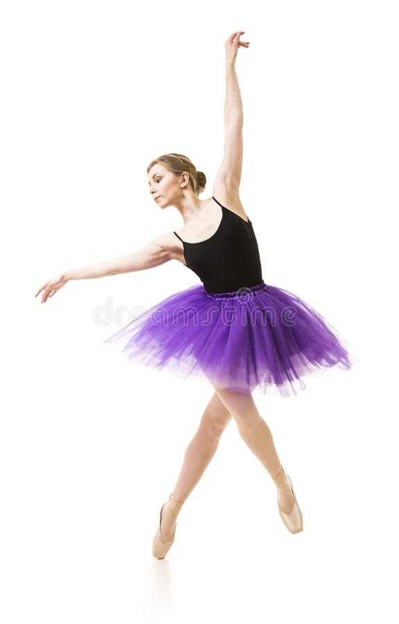 Meisje in purpere tutu en het zwarte ballet van de maillotdans stock foto
