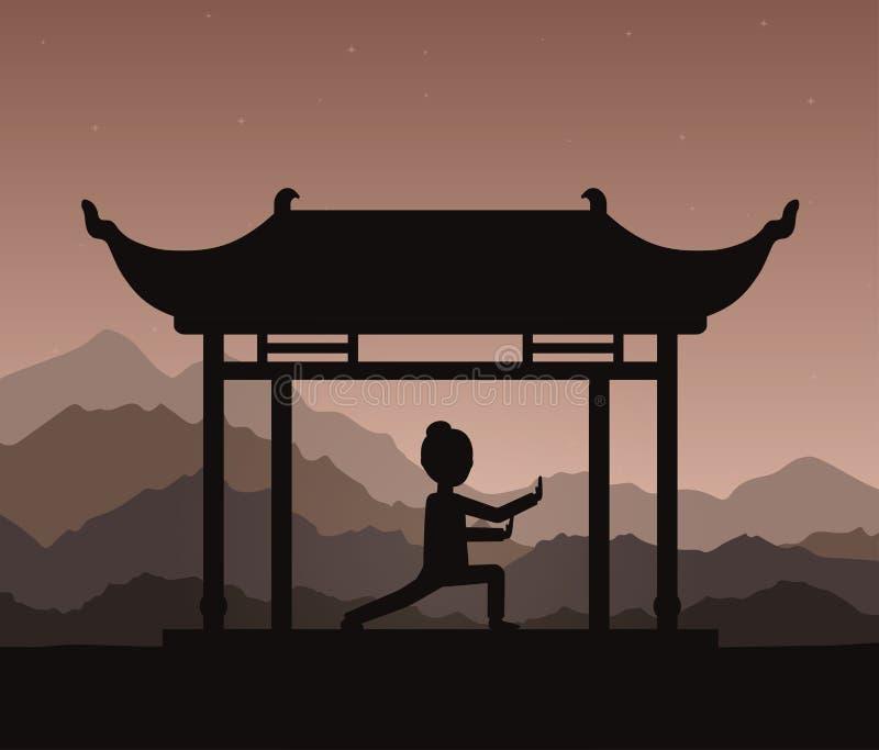 Meisje qigong of taijiquan oefeningen die in de avond presteren royalty-vrije illustratie