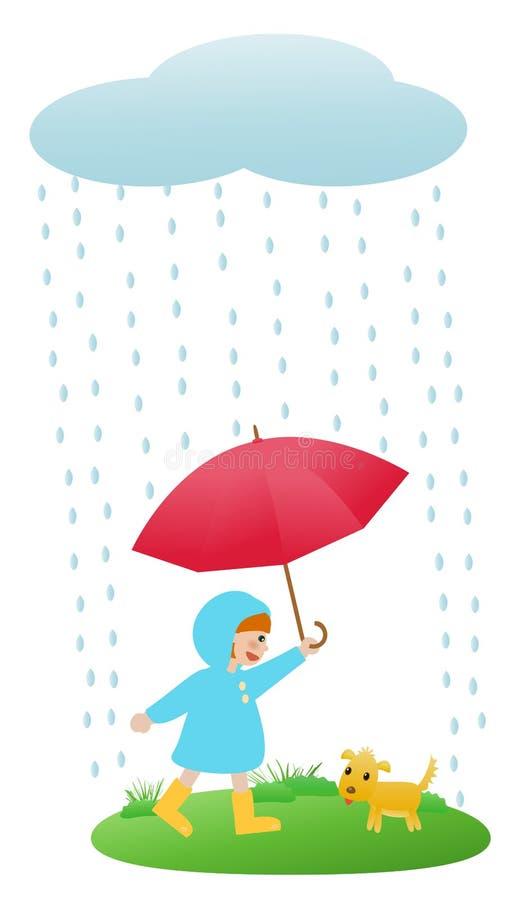 Meisje in regen vector illustratie