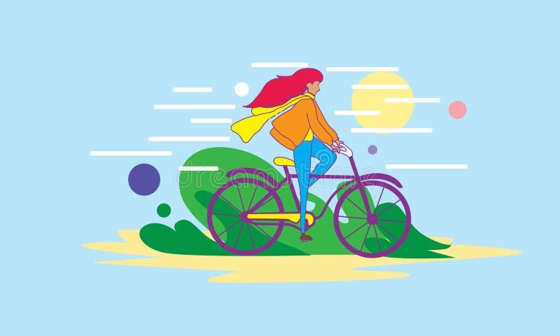 Meisje rijdt in de openlucht vector illustratie