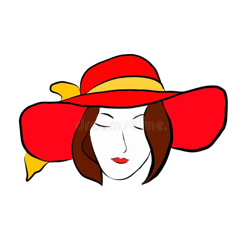 Meisje in rode hoed met royalty-vrije illustratie
