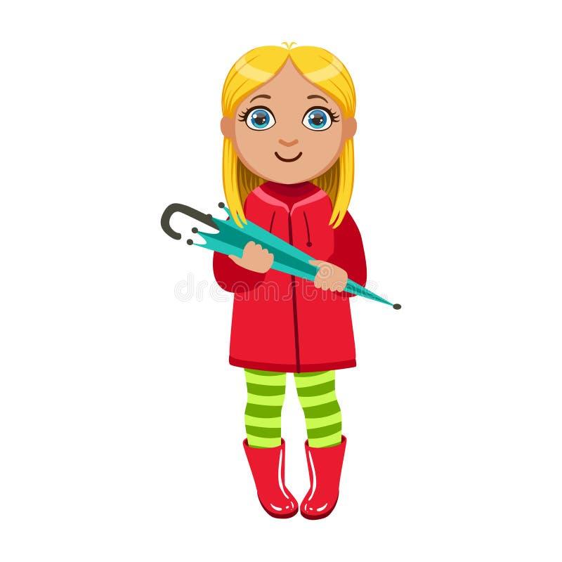 Meisje in Rode Laag met Paraplu, Jong geitje in de Regen van Autumn Clothes In Fall Season Enjoyingn en Regenachtig Weer, Plonsen stock illustratie
