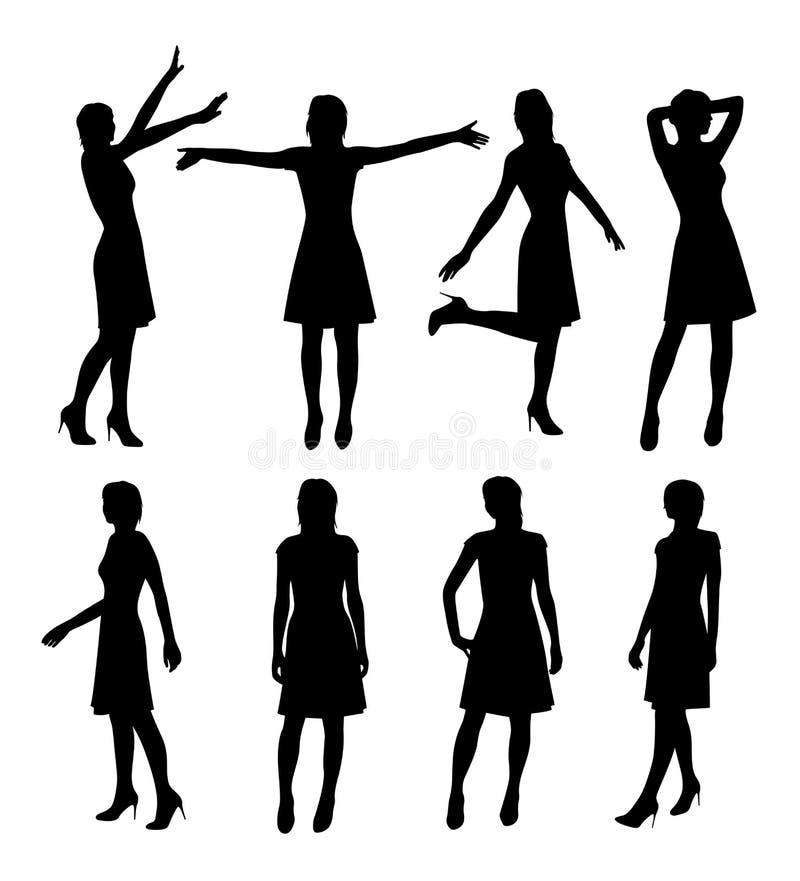 Meisje in rok en hielensilhouet royalty-vrije illustratie
