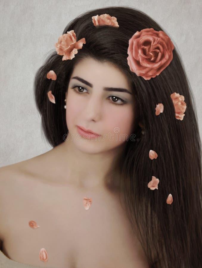 Meisje in roze bloemblaadjes stock afbeeldingen