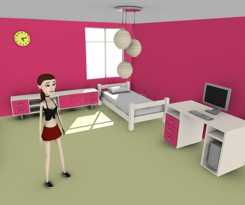 Download Meisje in roze ruimte stock illustratie. Illustratie bestaande uit zaken - 29504946