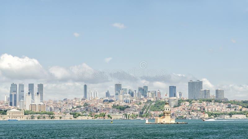Meisje` s Toren en Bosphorus, Istanboel, Turkije stock afbeeldingen