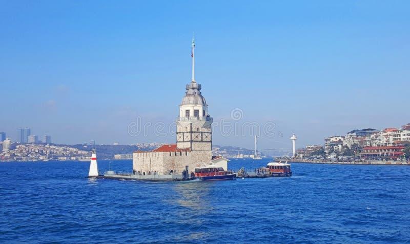 Meisje` s Toren Istanboel, Bosphorus stock fotografie