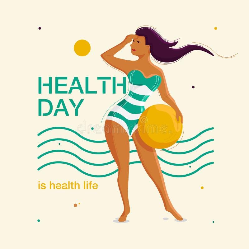 Meisje in samengevoegd zwempak met een bal in haar handen op de achtergrond van golven en de zon Gezondheidsdag vector illustratie