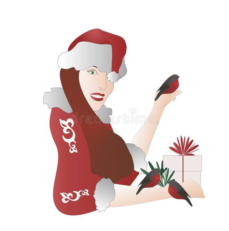 Meisje-santa door goudvink. royalty-vrije illustratie