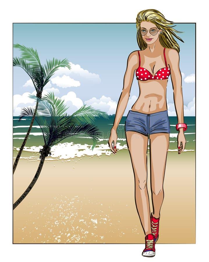 Meisje in schets-stijl op een strand-achtergrond royalty-vrije illustratie